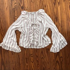 American Eagle Peasant Boho Bell Sleeve Blouse Top